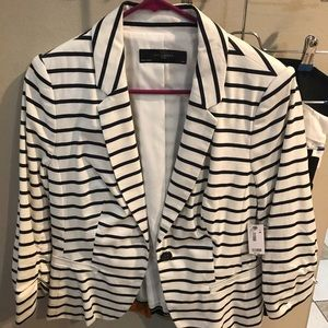 The Limited NWT white blazer with navy stripes!